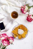 Morning breakfast with waffles, royalty free stock images
