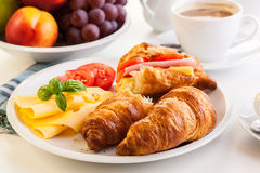 Morning breakfast witch croissant, cheese and coffee Stock Images