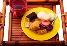 Morning breakfast on the wooden tray Royalty Free Stock Photography
