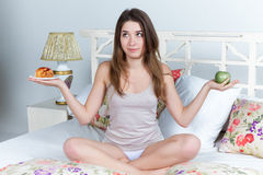 The morning and breakfast of young beautiful girl Royalty Free Stock Photo