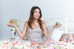 The morning and breakfast of young beautiful girl Royalty Free Stock Images