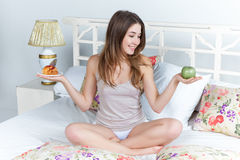The morning and breakfast of young beautiful girl Royalty Free Stock Image