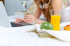 The morning and breakfast of young beautiful girl Stock Photo
