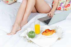 The morning and breakfast of young beautiful girl Stock Photography