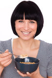 Morning breaktfast. Lifestyle girl eating cornflakes alldays Stock Photos