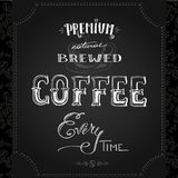 Morning brewed coffee, hand drawn lettering on black background. Vector illustration stock illustration