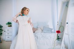 Morning of the bride. A beautiful and gentle morning of the bride Royalty Free Stock Images