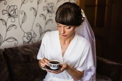 Morning of the bride. Wedding ceremony. The girl in a white dress and veil royalty free stock photos