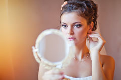 The Morning of the Bride. The bride is going to the wedding in the morning Royalty Free Stock Photo
