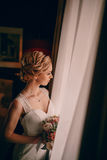 Morning bride in hotel room Royalty Free Stock Images