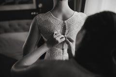 Morning bride in hotel room Stock Image