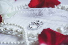 Morning bride. Wedding rings, rose petals and pearl necklace. We Royalty Free Stock Image