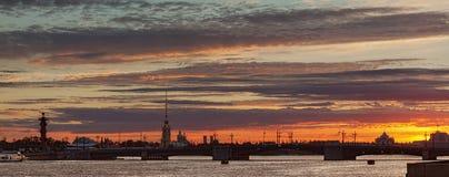 Morning bridge in Saint-Petersburg panorama. Morning bridge in Saint-Petersburg panoramic shot with spire at sunrise Stock Images
