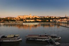 Morning of Buda Castle, Budapest. Buda Castle is the historical castle of the Hungarian kings in Budapest, Hungary, first completed in 1265. In the past, it was Royalty Free Stock Photo