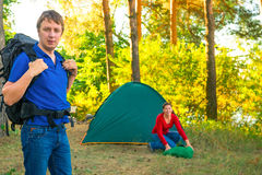Morning business couple   in camping Royalty Free Stock Image