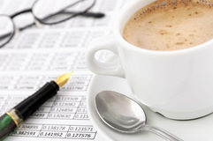Morning business job with cappuccino Stock Photography