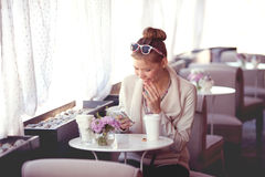 Morning in a cafe. Stock Photo