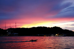 Morning Calling Kampong Ayer Stock Photo