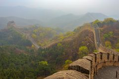 Morning Calm - The Great Wall of China at Badaling near Beijing. Morning fog in the hills around the great wall at Badaling Royalty Free Stock Image