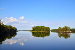 Morning calm. Lake Engozero, North Karelia, Russia Royalty Free Stock Photography