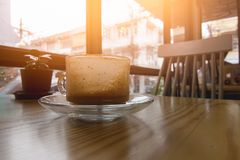 Morning Cappuccino coffee,Drink out. On table wood Royalty Free Stock Image