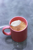 Morning cappuccino. Making fresh and hot cappuccino stock images
