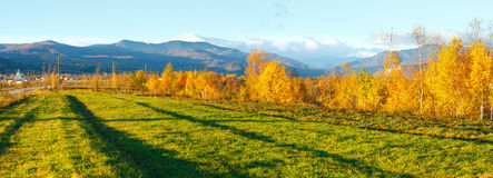 Morning Carpathian mountain autumn panorama. Stock Photo