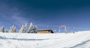 Morning in Carpathian mountains. Dragobrat bugel. Morning in Carpathian mountains. Dragobrat . bugel.fir. blue sky Royalty Free Stock Photography