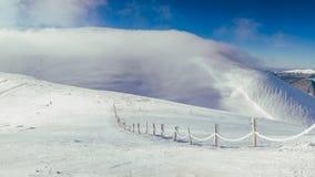 Morning in Carpathian mountains. Dragobrat. Panorama Royalty Free Stock Photography