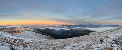 Morning in Carpathians panorama Royalty Free Stock Photo