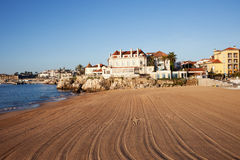Morning at Cascais Beach in Portugal Royalty Free Stock Photography