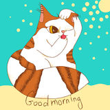 Morning cat. Cartoon illustration of little cat in the morning - vector format Royalty Free Stock Images