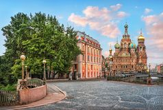 Morning at the Cathedral of the Savior on Spilled Blood Royalty Free Stock Photos