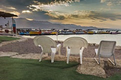 Morning at central beach of Eilat Royalty Free Stock Image