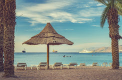 Morning at central beach in Eilat Royalty Free Stock Image