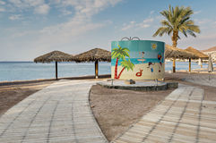 Morning at central beach of Eilat Stock Photo