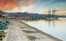 Morning at the central beach and marina of Eilat, Israel Royalty Free Stock Image