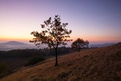 Morning in Central Bohemian Uplands, Czech Republic. View from the hill at sunrise. Nature monument royalty free stock image