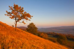 Morning in Central Bohemian Uplands, Czech Republic. View from the hill at sunrise. Nature monument royalty free stock photos