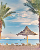 Morning at central public beach in Eilat. Eilat is a famous resort in Israel Royalty Free Stock Image