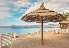 Morning at central public beach in Eilat Stock Image
