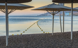 Morning at central public beach in Eilat, Israel Stock Image