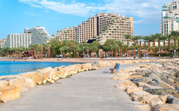 Morning at central public beach in Eilat, Israel Royalty Free Stock Images