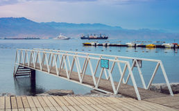 Morning at central public beach in Eilat, Israel Royalty Free Stock Image