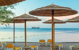 Morning at central public beach in Eilat, Israel Stock Images
