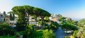 Morning at central square in Ravello, Italy. View of Ravello central square with cafes near Duomo, Campania, Italy royalty free stock photography