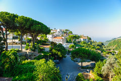 Morning at central square in Ravello, Italy. View of Ravello central square with cafes near Duomo, Campania, Italy stock images