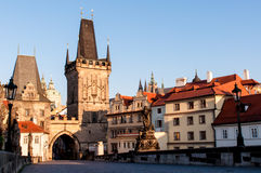 Morning at Charles Bridge, Prague. Photo of the Charles bridge in Prague, Czech republic From wiki: The Charles Bridge is a famous historical bridge that crosses Stock Images