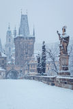 Charles bridge in winter, Prague Royalty Free Stock Photo