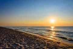 Amazing sunrise in the cozy Ukrainian resort of Kurortne royalty free stock images